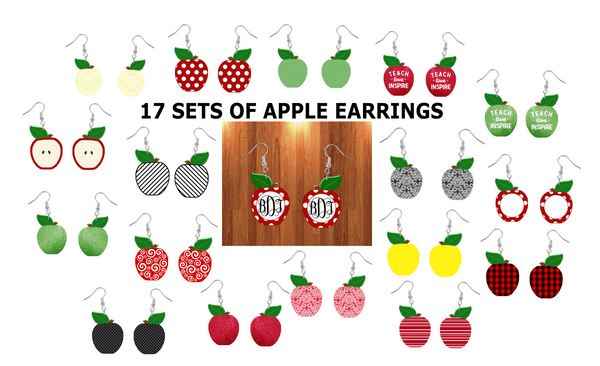 (Instant Print) Digital Download - 17pc Apple earring bundle with mockups  , made for our  MDF blanks