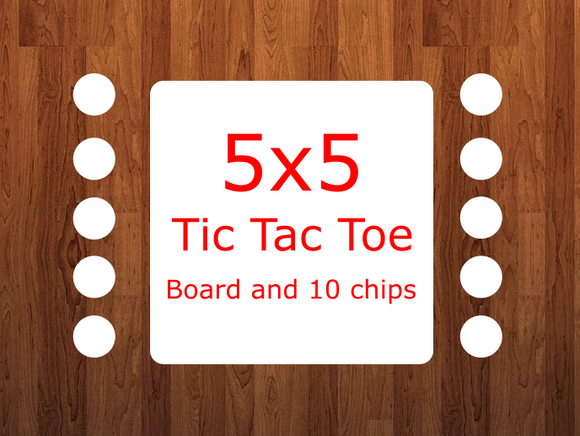 Tic tac toe board and 10 chips  (size 5x5)-  Sublimation Blank