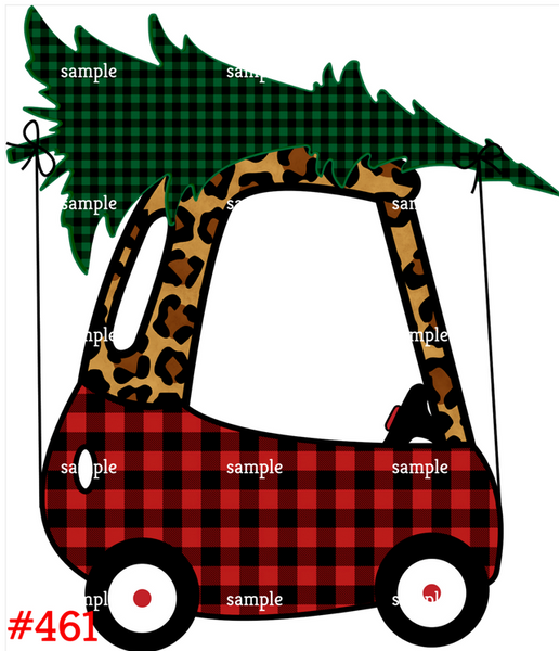 Sublimation print - Plaid and Cheetah Print Car with Tree #461