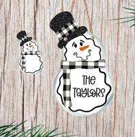 (Instant Print) Digital Download - Black plaid snowman with top hat