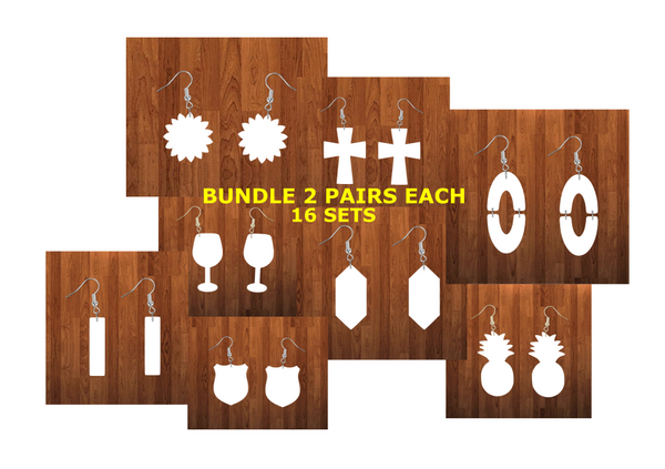 Bundle earrings size 1.5 inch - BULK PURCHASE 16pairs - 2 of each design