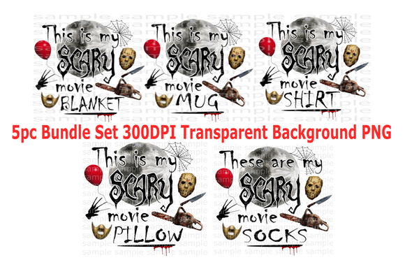 (Instant Print) Digital Download - This is my scary movie 5pc bundle set