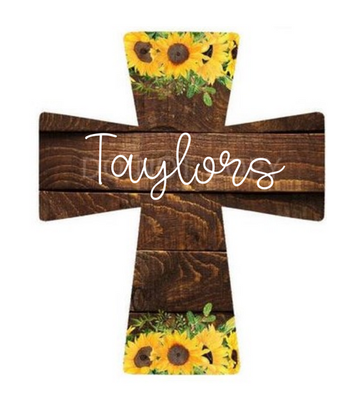 Sublimation print - Personalize with your name  cross - Made for our MDF sublimation blanks