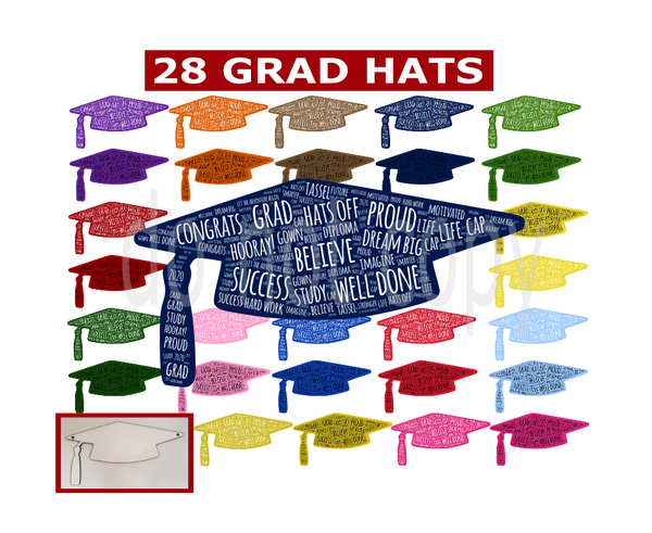 (Instant Print) Digital Download - 28pc bundle of our grad caps for our grad cap wall hangers