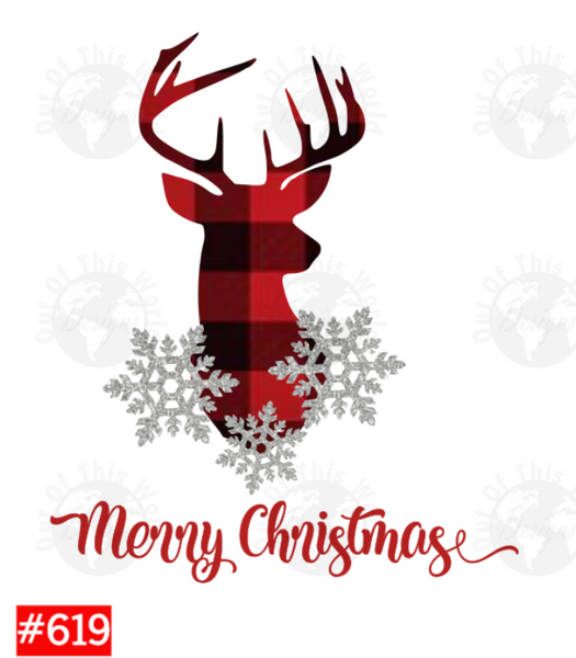 Sublimation print - Merry Christmas Plaid Deer #619