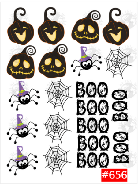 Sublimation print -  Pumpkin, Spider and Boo  Hairbow 16pc sheet #656