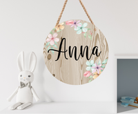 (Instant Print) Digital Download - Wood and floral round (add your own name)