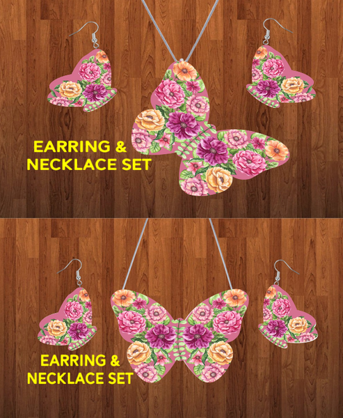 (Instant Print) Digital Download - Butterfly necklace and earring set