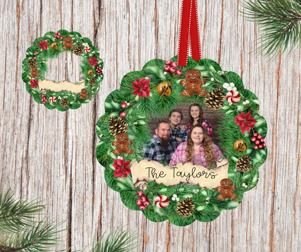 Sublimation print ONLY - Personalized wreath scalloped round  - Made for our MDF sublimation rounds