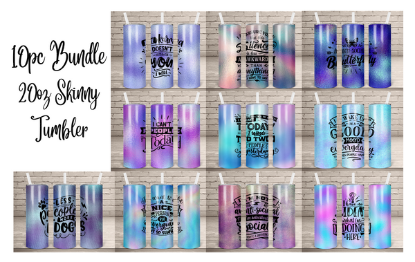 (Instant Print) Digital Download -10pc 20oz skinny tapered tumbler bundle Designs , made for our sippy cups