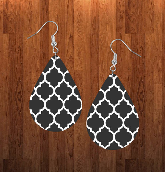 (Instant Print) Digital Download - Quatrefoil tear drop earring - Made for our sublimation blanks