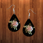 (Instant Print) Digital Download - Floral and  black  tear drop earring - Made for our sublimation blanks