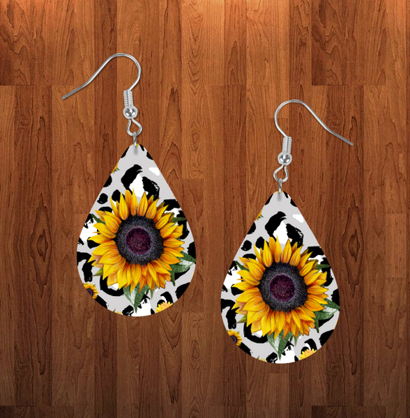 (Instant Print) Digital Download - Sunflower tear drop earring - Made for our sublimation blanks