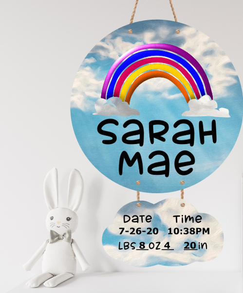 Sublimation print - Personalized name - Rainbow Baby birth stat 2pc ( we offer the blank hanger)