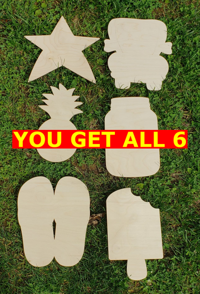 12 inch Wood 6pc Bundle Blanks For Painting