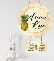 Sublimation print - Personalized name - Pineapple  Baby birth stat 2pc ( we offer the blank hanger)