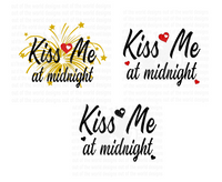 Kiss me at midnight bundle 3 designs (Instant Print) Digital Download