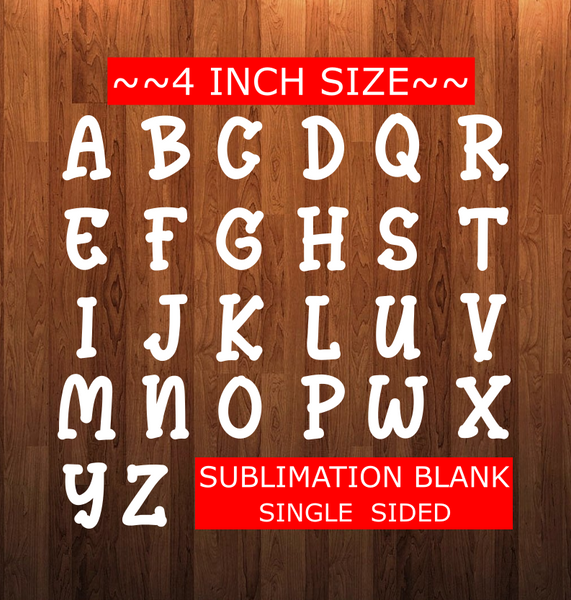 4 inch Letter Sublimation Blank - NO HOLES - Custom Cut