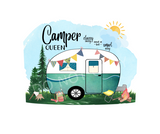 (Instant Print) Digital Download - Camper queen tumbler wrap 20oz skinny tapered