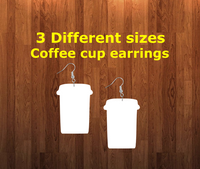 Coffee cup earrings size 2.5 inch - BULK PURCHASE 10pair