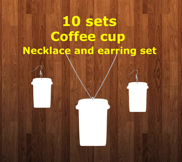 Coffee cup necklace sets- you get 10 sets - BULK PURCHASE 10pair earrings and 10pc necklace
