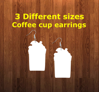 Coffee cup earrings size 2 inch - BULK PURCHASE 10pair