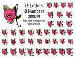 (Instant Print) Digital Download - Beautiful rose and letter/number bundle