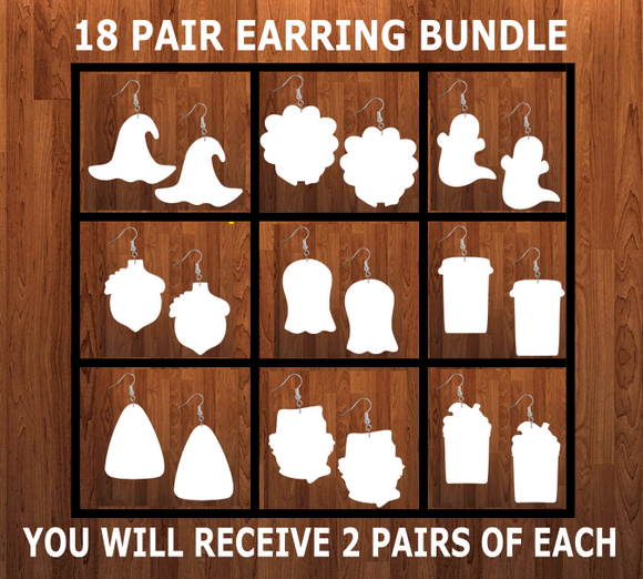 Bundle earrings size 1.5 inch - BULK PURCHASE 18pairs - 2 of each design