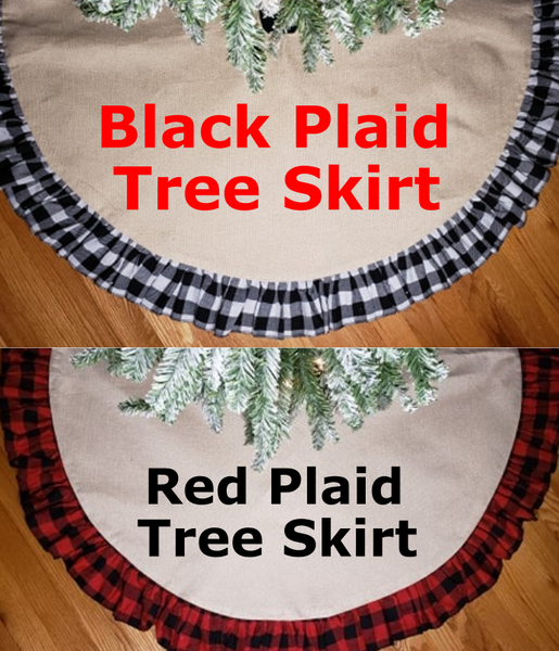 Tree Skirt Black or Red Plaid, Sublimation works great on them !