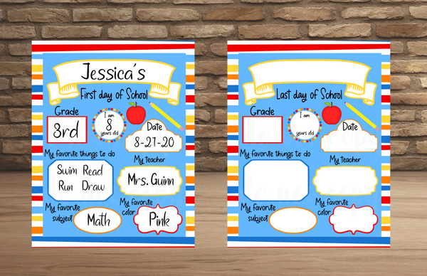 (Instant Print) Digital Download - First day and last day of school bundle  - made for our sublimation blanks