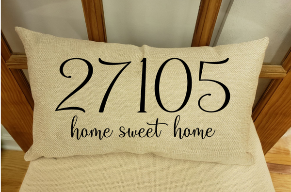 Sublimation print - Personalized zip code home sweet home pillow