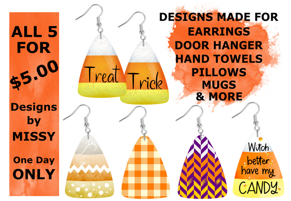 (Instant Print) Digital Download - Candy corn bundle 5pc - made for our sublimation blanks