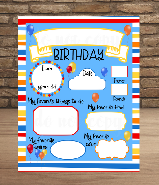 Sublimation print (ONLY) - Birthday print  - Made for our sublimation blanks