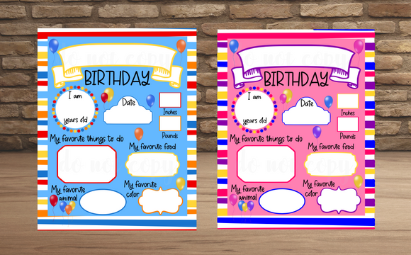 (Instant Print) Digital Download - Birthday board bundle  - made for our sublimation blanks
