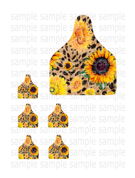 Sublimation print - Sunflower cattle tag