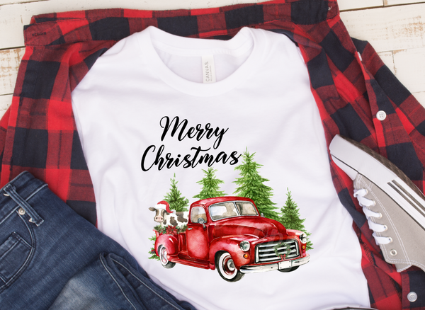 (Instant Print) Digital Download - Merry Christmas Cow & Truck