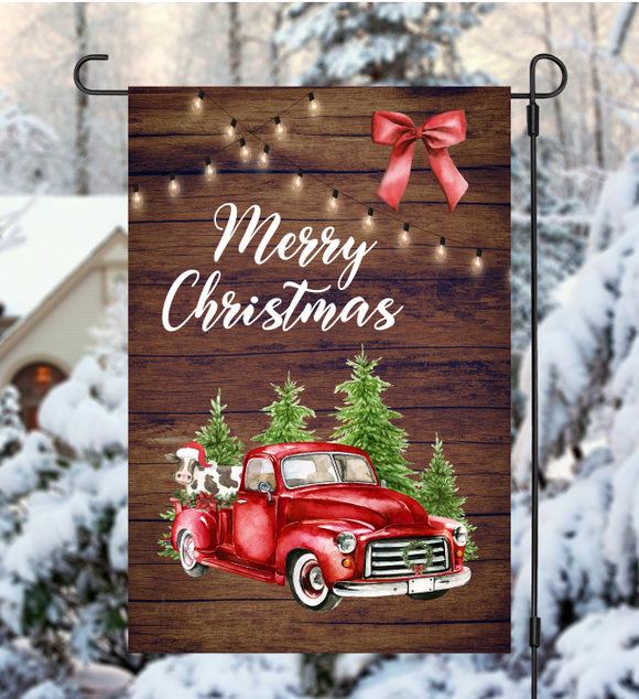(Instant Print) Digital Download - Merry Christmas Cow & Truck Flag - made for our sublimation blanks