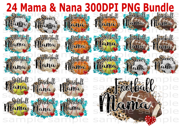 (Instant Print) Digital Download - 24pc Sport Bundle Mama and Nana