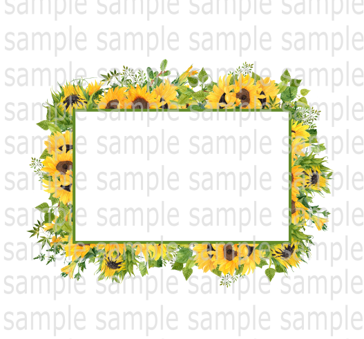 Heat Transfer (screen print) Sunflower frame (small size) pocket or can cooler size