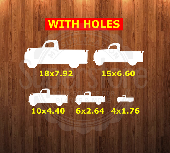 Truck WITH holes - 5 sizes to choose from - Sublimation Blank - 1 sided or 2 sided options