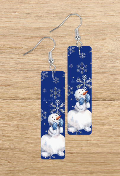 (Instant Print) Digital Download -  Snowman bar rectangle earrings -  design made for our blanks