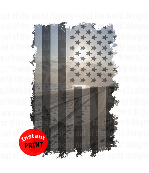 (Instant Print) Digital Download - Beach scene American flag