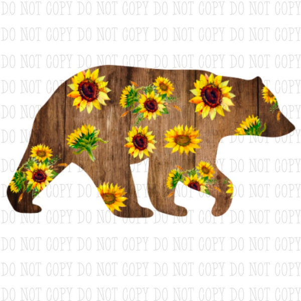 Sublimation print - (14 different sizes) Sunflower bear - Made for our MDF sublimation blanks