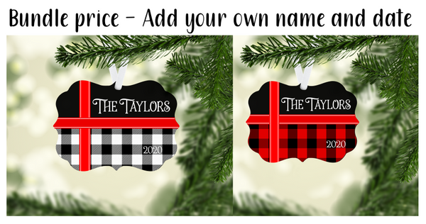 (Instant Print) Digital Download -  Bundle price plaid benelux ornament set -  design made for our blanks