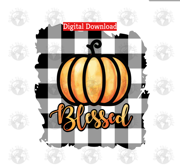 Blessed plaid pumpkin (Instant Print) Digital Download