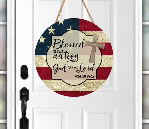 (Instant Print) Digital Download -  Blessed is the nation whose God is the Lord round - made for our blanks