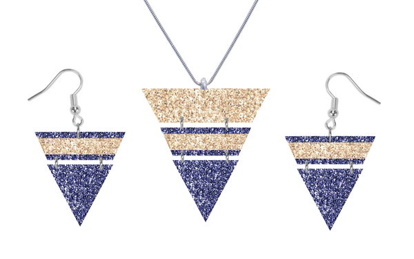 (Instant Print) Digital Download - Triangle blue and gold glitter set - Made for out MDF blanks