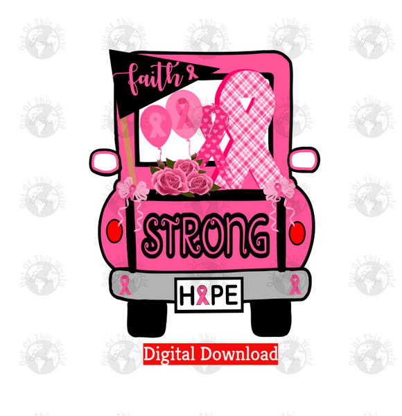 Breast Cancer Strong Truck (Instant Print) Digital Download