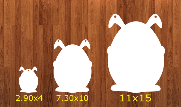 Without HOLES - Bunny holding egg - 3 sizes to choose from -  Sublimation Blank  - 1 sided  or 2 sided options