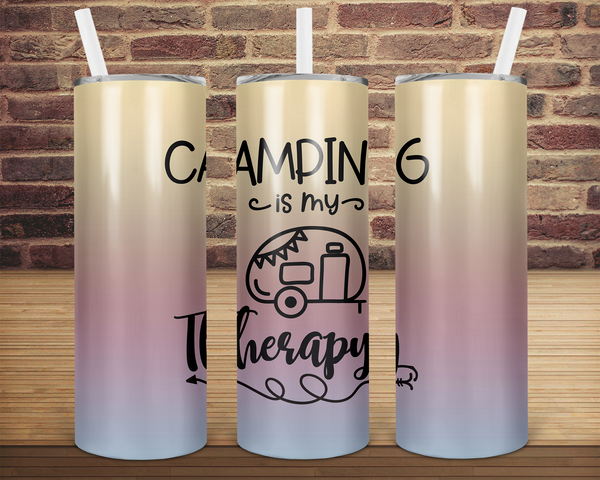 (Instant Print) Digital Download - Camping is my therapy  - 20oz skinny tapered tumbler wrap